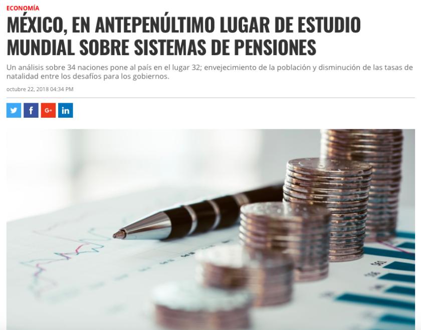 México, antepenúltimo lugar mundial en pensiones